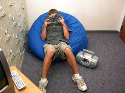reading in bean bag
